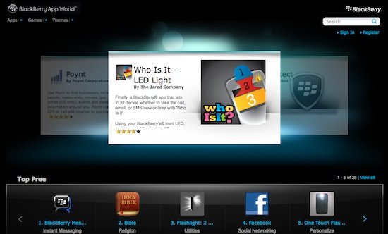BlackBerry App World Webstore