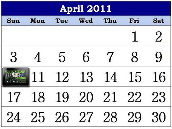 BlackBerry PlayBook April 10