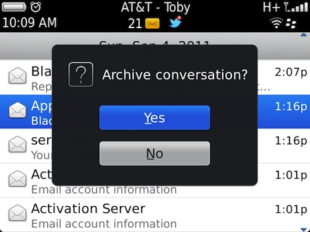 BlackBerry Gmail Archive
