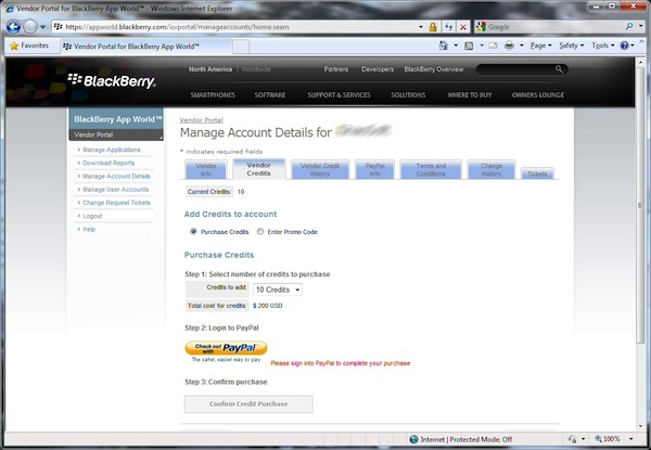 BlackBerry App World Vendor Portal