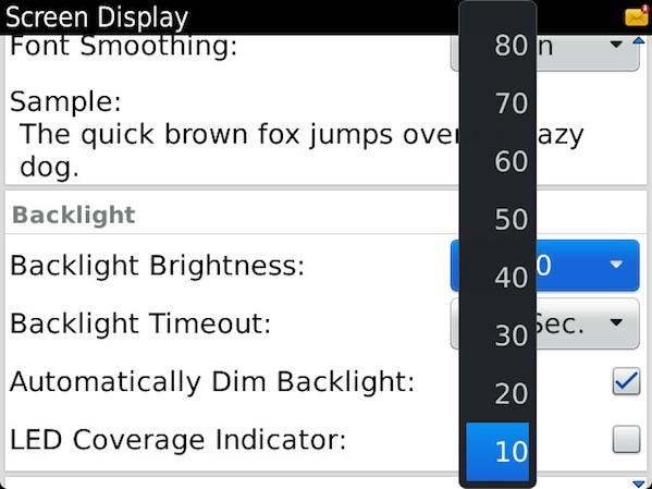 BlackBerry Backlight Settings