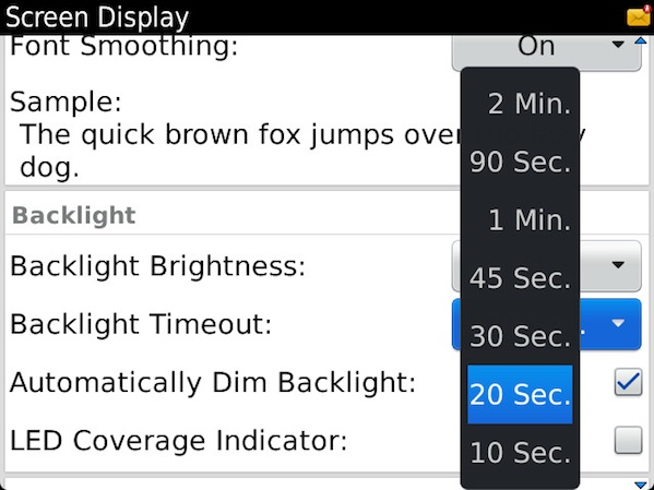 BlackBerry Backlight Settings