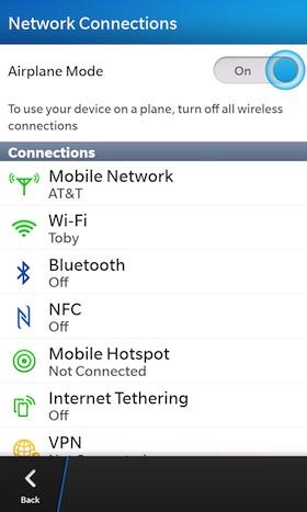 BlackBerry 10 Airplane Mode