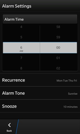 BlackBerry 10 Alarm Clock