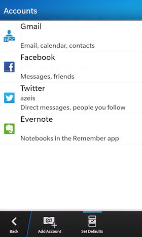 BlackBerry 10 Default Accounts