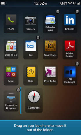 BlackBerry 10 Folders