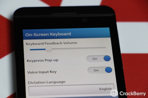 BlackBerry 10 Keyboard Volume