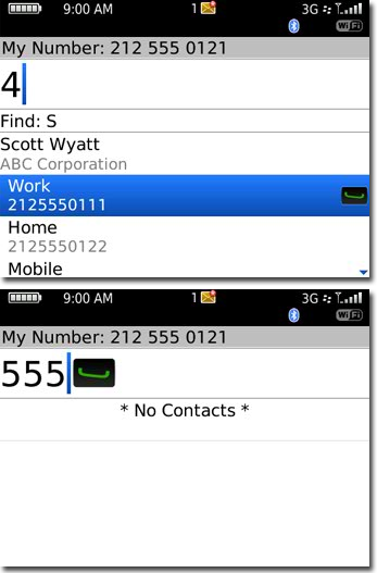 Dial a number from phone app