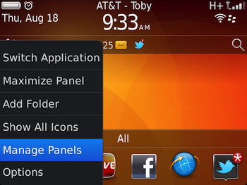 BlackBerry 7 Manage Home Screen Panels