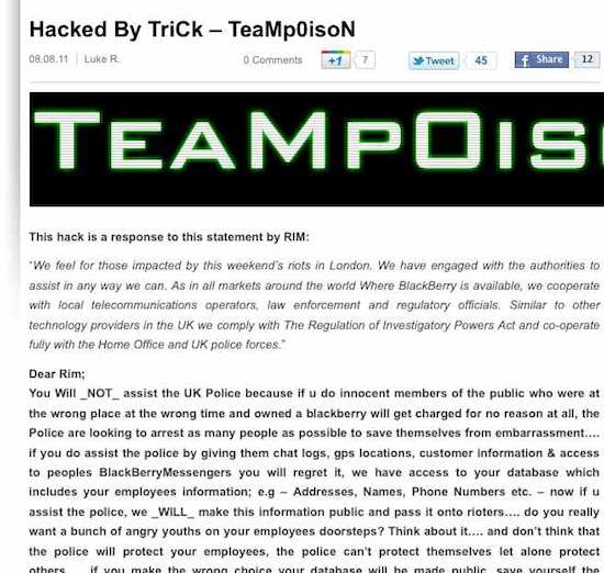 BlackBerry Blog Hacked