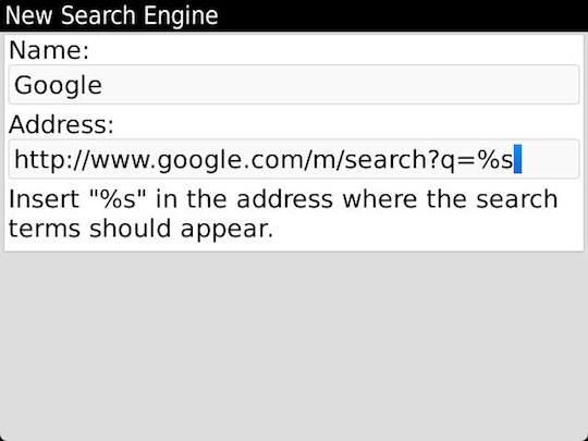 BlackBerry OS 7 Default Search Engine