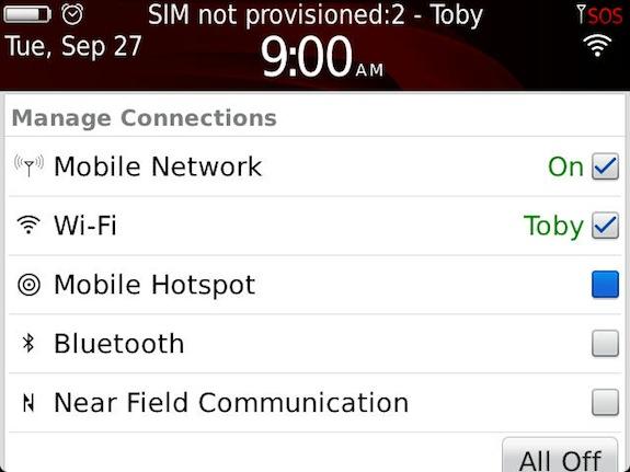 BlackBerry Bold 9900 Mobile Hotspot Mode