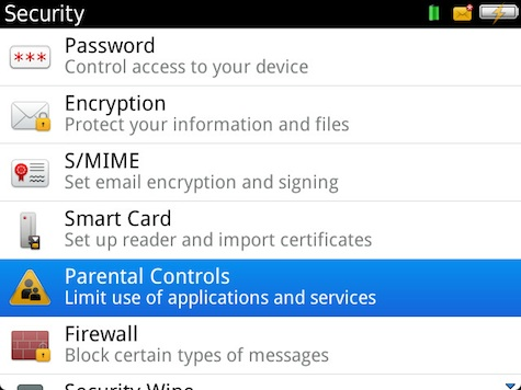 BlackBerry Parental Controls