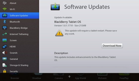 BlackBerry PlayBook OS 1.0.1.1710