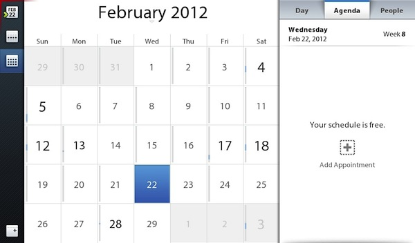 BlackBerry PlayBook 2.0 Calendar