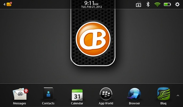 BlackBerry PlayBook 2.0 Home Screen
