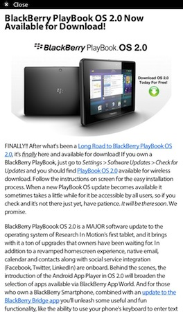 BlackBerry PlayBook 2.0 Easy Reader