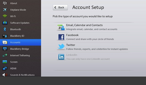 BlackBerry PlayBook Account Setup