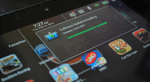 BlackBerry PlayBook 2.0 update