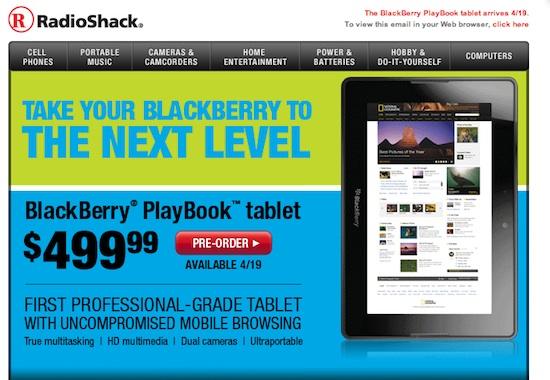 BlackBerry PlayBook Radio Shack
