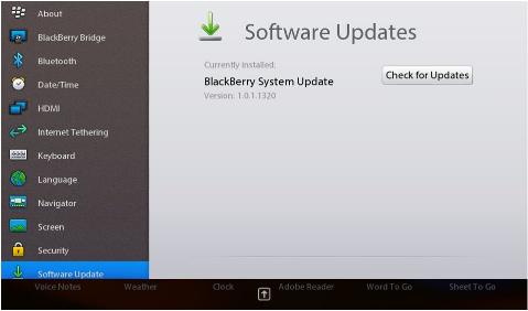 BlackBerry PlayBook Software Update
