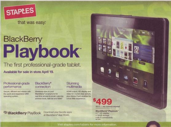 BlackBerry PlayBook Staples Weekly Ad