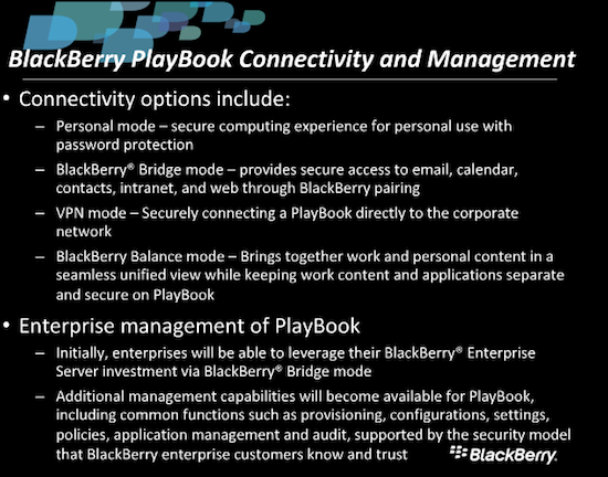 BlackBerry PlayBook In Enterprise