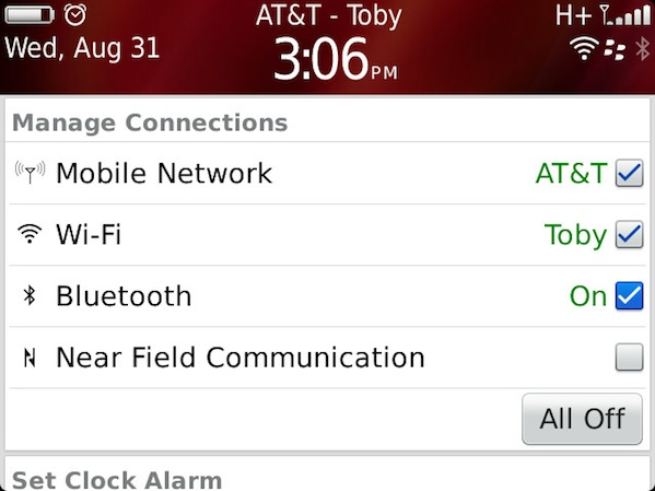 BlackBerry Bluetooth Settings