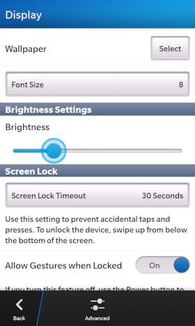 BlackBerry 10 Display