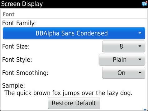 Change Font BlackBerry