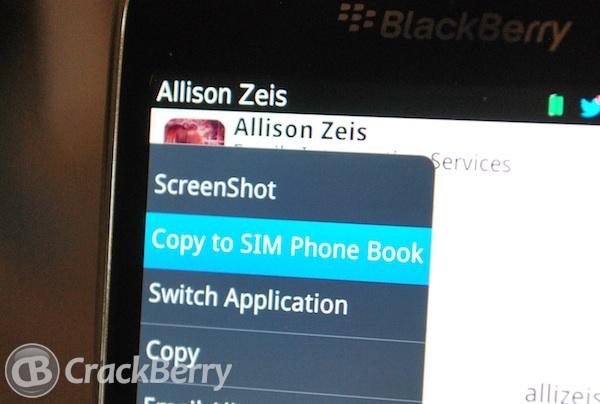 Copy Contact to SIM card