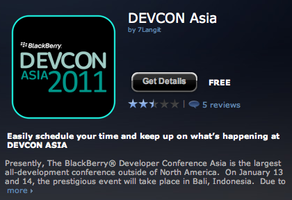 DevCon Asia App BlackBerry