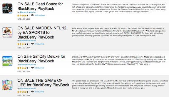 EA Games BlackBerry PlayBook