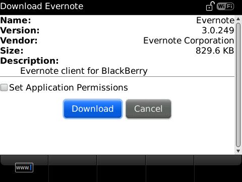 Evernote for BlackBerry