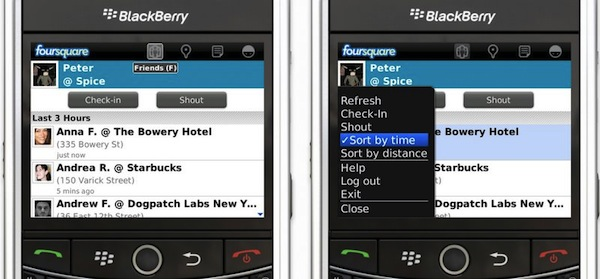 foursquare for BlackBerry v1.9