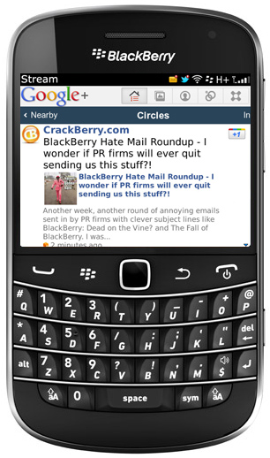 Google+ BlackBerry App