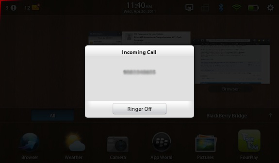 Incoming Call BlackBerry PlayBook