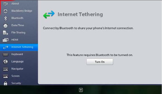 Internet Tethering on the BlackBerry PlayBook via Bluetooth