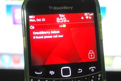 BlackBerry Lock Screen Message