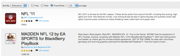 NFL BlackBerry App World