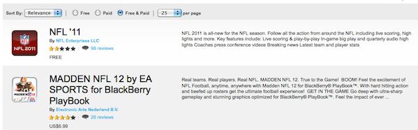 NFL BlackBerry App World