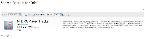 NHL BlackBerry App World
