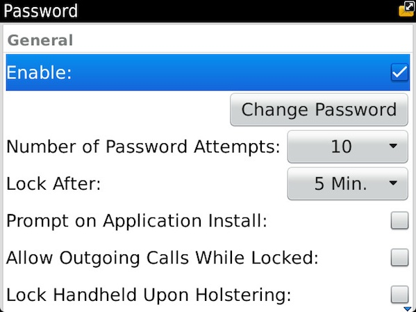 BlackBerry Device Password