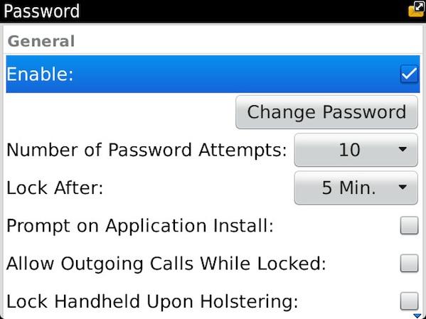 BlackBerry Device Password