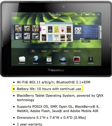BlackBerry PlayBook battery life