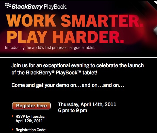 BlackBerry PlayBook NYC Event