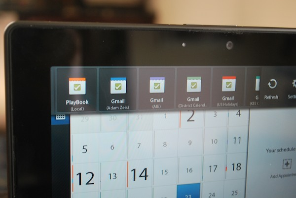 PlayBook Gmail Multiple Calendars