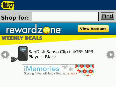 Best Buy Reward Zone BlackBerry