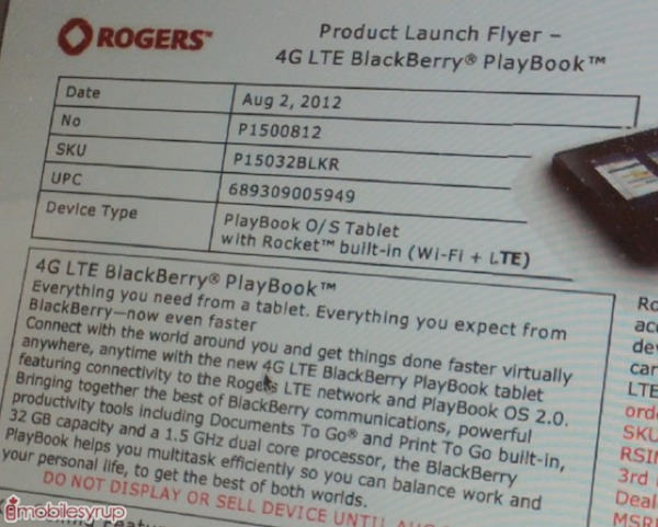 4G LTE BlackBerry PlayBook Pricing