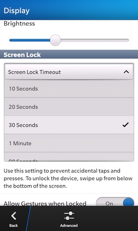 BlackBerry 10 Screen TImeout